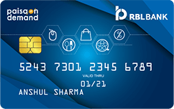 RBL Bank Paisa on Demand Credit Card